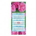 Календарь квартальный Hatber Мини Чудесные цветы, 3-х бл., 1 гр., с бегунком, 2017