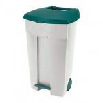 Бак для мусора на колесах Curver 110л, бежевый/зеленый, с педалью 174898