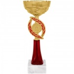 Кубок металлический Артанс Динара 23см, мрамор с золотом, красный