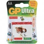 "Батарейка Gp Ultra Alkaline ""Подари Жизнь"" АА/LR06, 1.5В, щелочная, 4шт/уп"