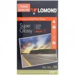 Фотобумага для струйных принтеров Lomond А6, 20 листов, 270г/м2, суперглянцевая, 1106102