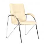 Кресло посетителя Chairman 850 иск. кожа, бежевая, terra 101, на ножках