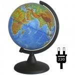 Глобус физико-политический Глобусный Мир 21см, на круглой подставке, с подсветкой