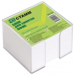 Блок для записей непроклеенный в подставке Стамм Офис белый в прозрачном боксе, 90х90мм