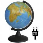 Глобус физический Глобусный Мир 21см, на круглой подставке, с подсветкой, 10006