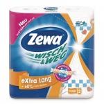 Бумажные полотенца Zewa Wisch&Weg Extra Lang белые с рисунком, 2 слоя, 2 рулона