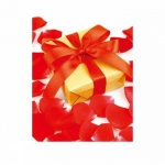 Пакет подарочный Красный бант и лепестки, 26x32.5x12.5 см