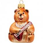 Елочная игрушка Элита Медведь с балалайкой 9см, стекло