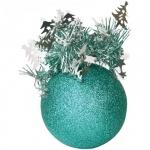 Елочный шар Пластиндустрия Праздничный 75мм, бирюзовый, пластик