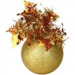Елочный шар Пластиндустрия Праздничный 75мм, золотой, пластик
