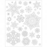 Наклейка на окно Феникс Презент Снежинки серебряные 2, 30х38см