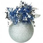 Елочный шар Пластиндустрия Праздничный 75мм, серебряный, пластик