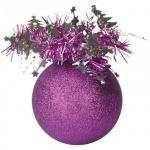Елочный шар Пластиндустрия Праздничный 75мм, фиолетовый, пластик