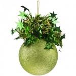 Елочный шар Пластиндустрия Праздничный 75мм, зеленый, пластик
