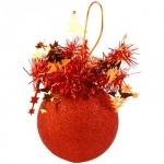 Елочный шар Пластиндустрия Праздничный 75мм, оранжевый, пластик