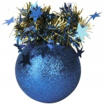 Елочный шар Пластиндустрия Праздничный 75мм, синий, пластик