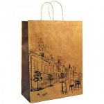 Пакет подарочный Вельт крафт с печатью, 32х42х15 см