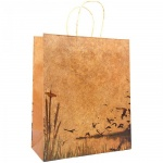 Пакет подарочный Вельт крафт с печатью, 27х33х12 см