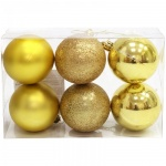 Набор елочных шаров Вельт 60мм, 6шт, пластик, золотой