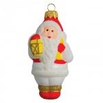 Елочная игрушка Элита Дед Мороз с корзинкой 10см, стекло