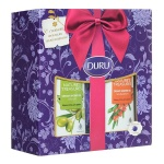 Подарочный набор Duru Nature's Treasures оливка/облепиха, гель для душа 2шт, с мочалкой