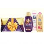 Подарочный набор Schauma + Fa восточные моменты, шампунь, гель для душа, аэрозольный антиперспирант, косметичка