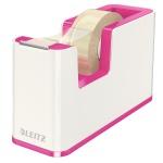 Диспенсер с клейкой лентой Leitz Wow до 19мм х33м, розовый металлик/белый, 53641023