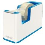 Диспенсер с клейкой лентой Leitz Wow до 19мм х33м, синий металлик/белый, 53641036