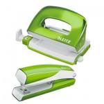 Набор степлер+дырокол Leitz Wow NeXXt зеленый металлик, мини, 55612064