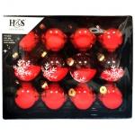 Набор шаров Koopman International красные, 12шт, d=6.5см