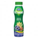 Йогурт питьевой Активиа черника-злаки-семена льна, 2.1%, 290г