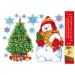 Наклейки декоративные Арт Дизайн Новогодние с фольгой Снеговик и елка, многоразовые, водостойкие