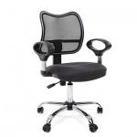 Кресло офисное Chairman 450 ткань, серая, СТ TW-12/TW-04, крестовина хром