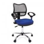 Кресло офисное Chairman 450 ткань, синяя, СТ TW-10/TW-05, крестовина хром