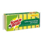 Губка для мытья посуды Scotch-Brite Классическая поролоновая с абразивным слоем, 9х7см, желтая, 8шт/уп