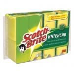 Губка для мытья посуды Scotch-Brite Интенсив поролоновая с абразивным слоем, 9х7см, желтая, 8шт/уп