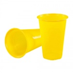 Стакан одноразовый Стиролпласт 200мл, пластиковый желтый, 100шт/уп
