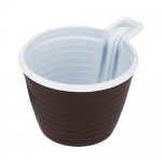 Чашка одноразовая Стиролпласт 180мл, бело-коричневая, 50шт/уп