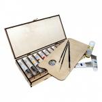 Набор художественный Малевичъ для живописи маслом, 10 цветов х 40мл, разбавитель 50мл, 3 кисти, палитра, в деревянной упаковке