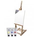 Набор художественный Малевичъ Стартовый для живописи акрилом, 5 цветов х 60мл, лак акриловый 125мл, 1 холст, 3 кисти, мольберт