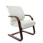 Кресло посетителя Chairman 445 WD нат. кожа, белая, на полозьях
