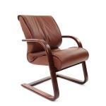 Кресло посетителя Chairman 445 WD нат. кожа, коричневая, на полозьях