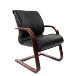 Кресло посетителя Chairman 445 WD нат. кожа, черная, на полозьях