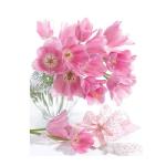 Пакет подарочный, 18x23x10 см,  Розовые тюльпаны