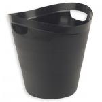 Корзина для бумаг Uniplast 12л, черная, с прорезными ручками, КХУ-10