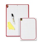 Доска планшет Attache А4 21x29.7 см, белая, пластиковая, красная рама, в клетку