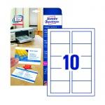 Визитные карточки Avery Zweckform Quick&Clean C32016-10, белые сатиновые, 85х54мм, 220г/м2, 10шт на листе А4, 10 листов, 10шт, для копир/ цветной лазерной печати