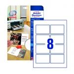 Визитные карточки Avery Zweckform Quick&Clean C32096-10, белые льняные, 85х54мм, 260г/м2, 8шт на листе А4, 10 листов, 80шт, для струйной печати