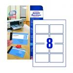 Визитные карточки Avery Zweckform Quick&Clean C32015-10, белые матовые, 85х54мм, 260г/м2, 8шт на листе А4, 10 листов, 80шт, для всех видов печати