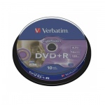 Диск DVD+R Verbatim 4.7Gb, 16х, Cake Box, 10шт/уп
